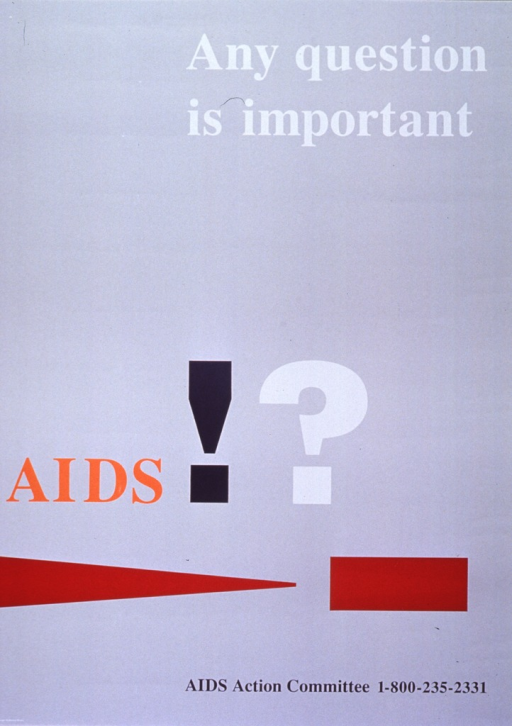 <p>Pale gray poster with multicolor lettering.  Initial title word on lower left side, remaining title words at top right.  Visual image on poster is title punctuation in oversize font with contrasting colors and a simple geometric design in brick red.  Phone number for the Committee at bottom of poster.</p>
