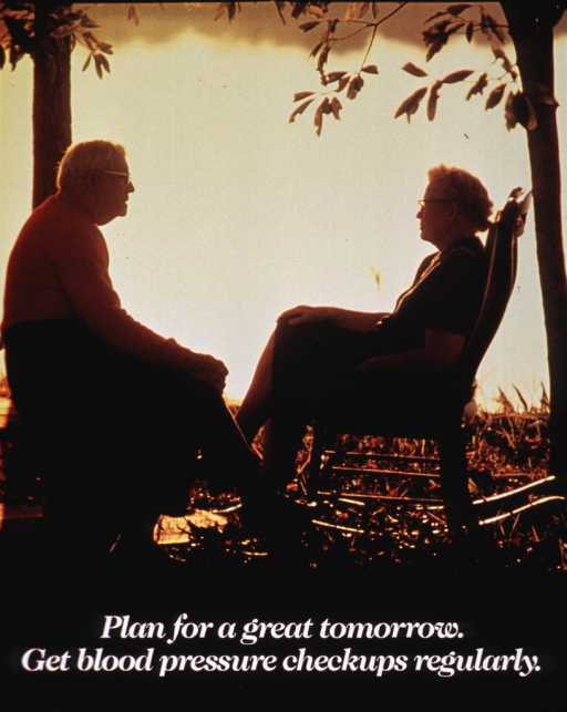<p>Multicolor poster with white lettering.  Visual image is a reproduction of a color photo showing an elderly man and woman sitting and facing each other while they watch the sunset in the distance.  Title near bottom of poster.  Publisher information in lower left corner.</p>