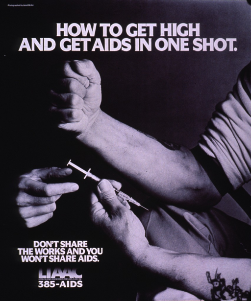 <p>Black and white poster with white lettering.  Title at top of poster.  Visual image is a b&amp;w photo reproduction featuring the arms of a man with one hand tightly clenched in a fist and one hand holding a syringe.  Another hand reaches into the photo to grasp the syringe.  Caption, publisher information, and hotline number in lower left corner.</p>