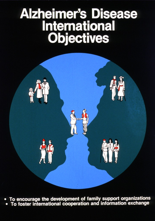 <p>Black poster with a blue circle in the center.  Inside the blue circle are two green silhouette profiles of an elderly person and a middle aged person.  Scattered across the circle and silhouettes are five sets of people representing different countries and different situations involving the elderly.</p>