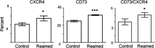 Systemic mobilization of CD73 and CXCR4 positive cells after surgery FACS analysis of CD73 and CXCR4 positive cells in the peripheral blood after reaming compared to naïve controls. Statistically significant increases were found for CD73 and CXCR4 when measured individually, as well as that population of cells that co-expressed both markers (*p ≤ 0.05, ***p ≤ 0.001).