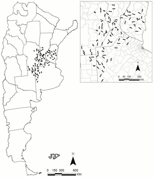 Regional bird monitoring program, indicating monitored routes, as of 2006–2012, covering an area 255,000 km2, over parts of Entre Ríos, Santa Fe, Córdoba, La Pampa and Buenos Aires provinces, Argentina.