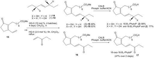 Synthesis of 16-B1-PhytoP, its enantiomer and 16-oxo-B1-PhytoP.