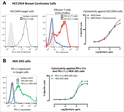 HER2-BsAb-mediated in vitro T cell cytotoxicity was relatively insensitive to PD-L1 expression on the tumor targets or PD-1 expression on T cells. (A) FACS analysis of PD-L1 expression in HCC1954 cells (left panel), of induced PD-1 expression in ATCs (middle panel), and HER2-BsAb-mediated cytotoxicity (right panel). (B) FACS analysis of PD-L1 expression in HEK-293 cells (left panel), and HER2-BsAb-mediated cytotoxicity using the ATCs as in (A) (middle panel). Mean + SEM (n = 6).