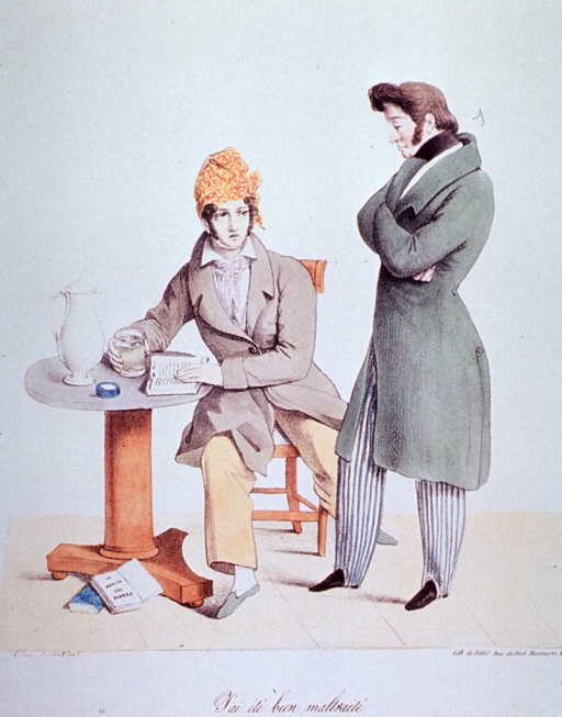 <p>Two men converse(?): one in bedclothes seated at a small table with an open book holds a mug; the other, elegantly dressed, stands with arms crossed.</p>