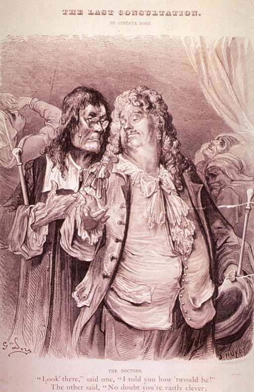 <p>A smug physician, holding his hat and cane, and a clergyman, both shown three-quarter length, full face, have paid their last visit to the patient; to the left is a distraught young woman, to the right is the expired patient.</p>
