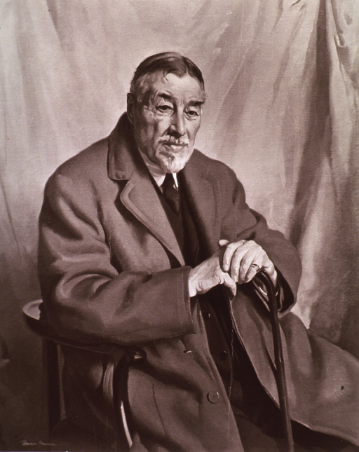 <p>Three-quarter length, seated, right pose, full face; wearing overcoat; hands on cane.</p>