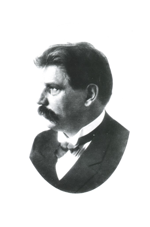 <p>Left profile, as a young man with dark hair and moustache.</p>