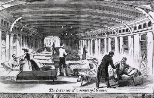 <p>Our Army in the southwest [under Gen. Halleck] Vignette: Interior of a sanitary steamer with cots for the wounded.</p>