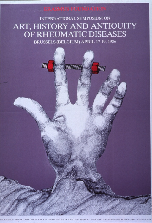 <p>Grayish-purple (thistle) poster trimmed in white, with white, black, and fuchsia lettering, announcing symposium, Apr. 1986.  Also lists dates and contact for more information.  Title at top of poster.  Dominant image is a reproduction of a pencil drawing of a hand.  The hand emerges from an uneven surface that looks like rock or earth.  The fingers on the hand are mostly extended.  A mechanical device, very similar to a screw and two bolts, surrounds the index and middle fingers.</p>