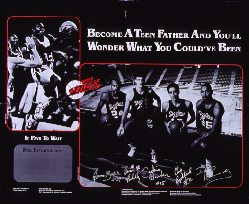 <p>Black poster with white and black lettering.  Title at top of poster.  Poster features two b&amp;w photo reproductions.  Photo in upper left corner shows a basketball player leaping to make a shot.  Note below this photo.  Photo in lower right corner shows five members of the Topeka Sizzlers, a team from the Continental Basketball Association, and the players' signatures.  List of six endorsing agencies below photo.</p>