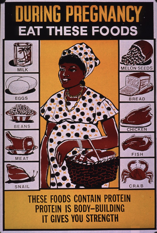 <p>Predominantly yellow and black poster with multicolor lettering.  Title at top of poster.  Visual images are illustrations of a pregnant woman carrying a small basket and several protein-rich foods.  The foods include milk, eggs, beans, meats and seafood, bread, and seeds.  Caption at bottom of poster.</p>