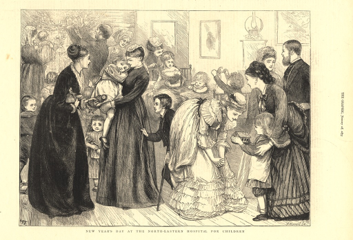 <p>Well-dressed men and woman are shown mingling amidst a group of  hospitalized children.  In the background, a man decorates a Christmas tree.  In the foreground, one woman holds a child, while another bends over and admires a small toy house that a child holds up to her.</p>