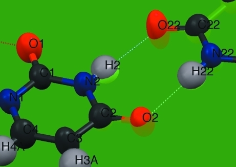 Geometry of resonance-enhanced hydrogen bonding between two uracyl bases.