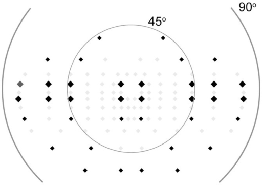 Target locations of the scotopic visual field.The scotopic visual field locations (black) were based on the locations used in the Esterman test (black and grey). The large diamonds represent the locations that were used to determine the homogeneity of the visual field by comparing the average threshold at 7°, 45°, 60°, and 75°.