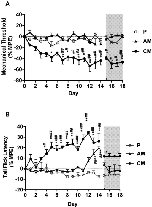 Effect of acute or chronic morphine administration on the mechanical threshold (A) and the tail flick latency (B).Mechanical threshold and tail flick latency were evaluated daily before injection (D-4-D0, no significant changes compared to D0, data not shown), during injection (D1-D14) and after injection (D15-D18). The grey shaded surface represents 4 days after the final injection. The results are presented as % MPE ± SEM (n=6). P: placebo group; AM: acute morphine administration group; CM: chronic morphine administration group; *P<0.05; **P<0.01 compared with baseline; #P<0.05; ##P<0.01 compared with group P.