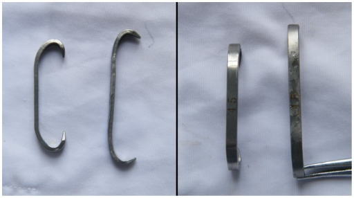 45 mm Shape memory Alloy Hook (SMAH).Left, prototype; right, unfolded in ice and water mixture.