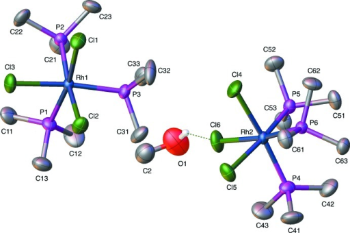 Displacement ellipsoid (50% probability level) rendering of the fac-tri­chlorido­tris­(tri­methyl­phosphane)rhodium–0.5(methanol) compound, RhP3Cl3MeOH.