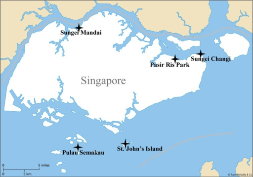 The five mangrove sampling stations located along the Singapore coastline.
