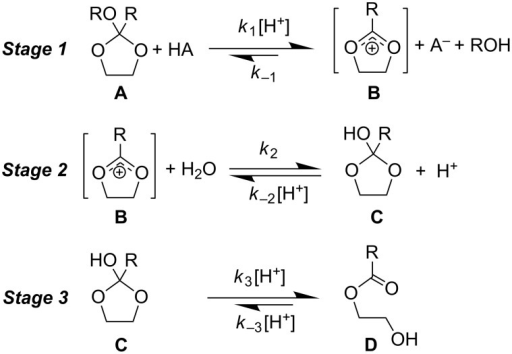The three-stage mechanism for the specific acid-catalysed hydrolysis of cyclic orthoester A.