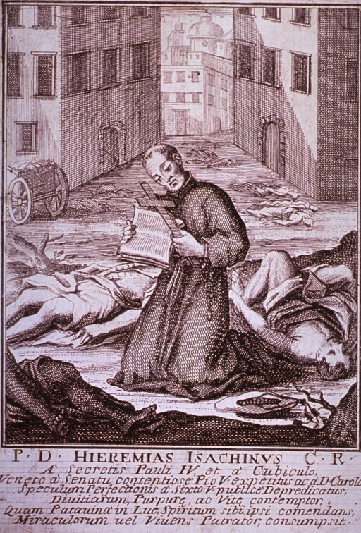 <p>Plague broadsides: Engravings attached to memorials for priests who died tending plague victims throughout Italy. Shows a priest reading from scripture among a cluster of plague victims.</p>