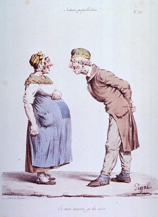 <p>Caricature:  An old man and a pregnant woman.</p>