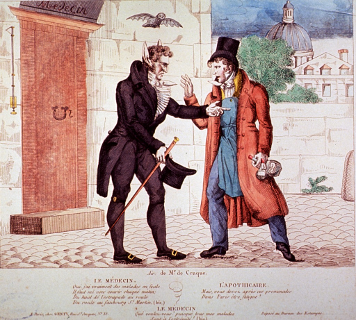 <p>Caricature:  Street scene; a physician, removing his hat to reveal abnormally large and pointed ears, has stopped a pharmacist seeking a remedy to cure this unusual growth.  The pharmacist is holding two bottles of potion.  A bat flies overhead.</p>