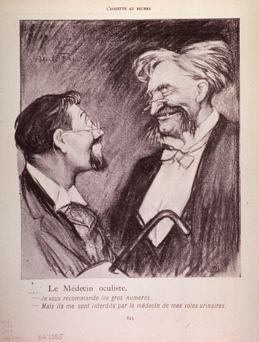 <p>Caricature of an ophthalmologist and his patient, both of whom are wearing glasses.</p>