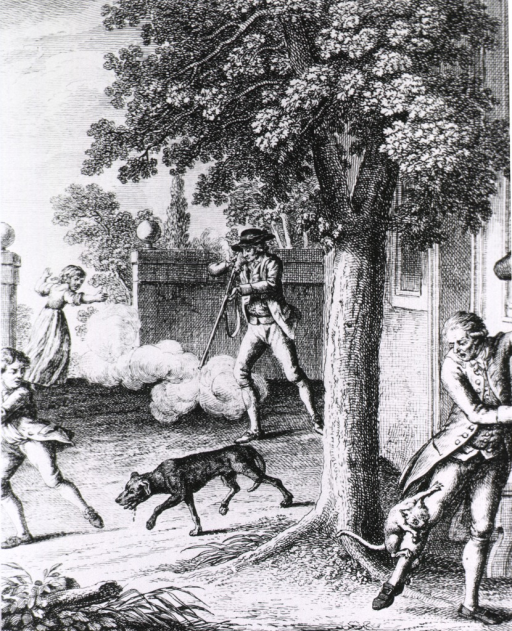 <p>In a courtyard, a gentleman shoots a rabid dog as three other people scatter.</p>