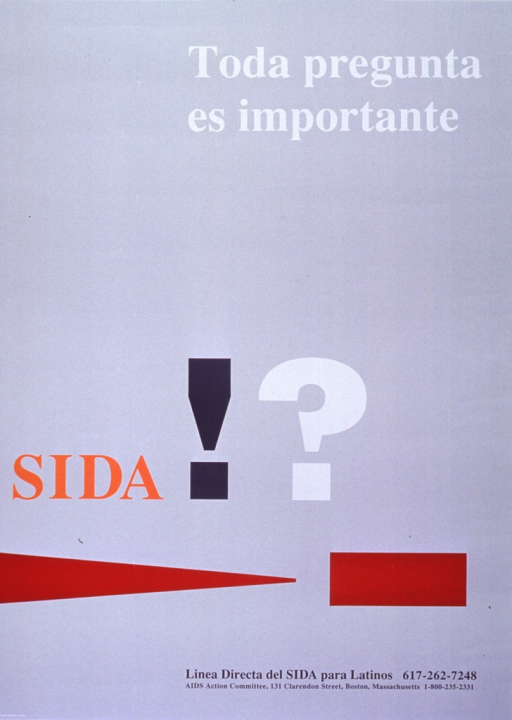 <p>Pale gray poster with multicolor lettering.  Initial title word on lower left side, remaining title words at top right.  Visual image on poster is title punctuation in oversize font with contrasting colors and a simple geometric design in brick red.  Bottom of poster features phone number for information in Spanish, plus address and phone number for the Committee.</p>