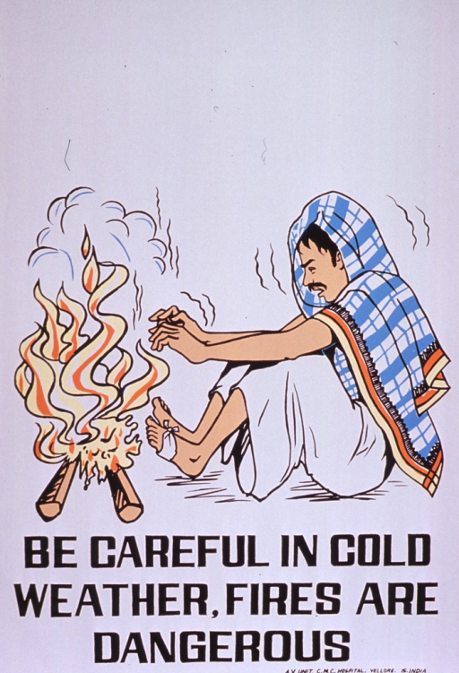 <p>Predominantly white poster with black lettering.  Visual image is a color illustration of a shivering man sitting in front of a fire, with his hands and feet quite close to the flames.  Title below illustration.  Publisher information in lower right corner.</p>