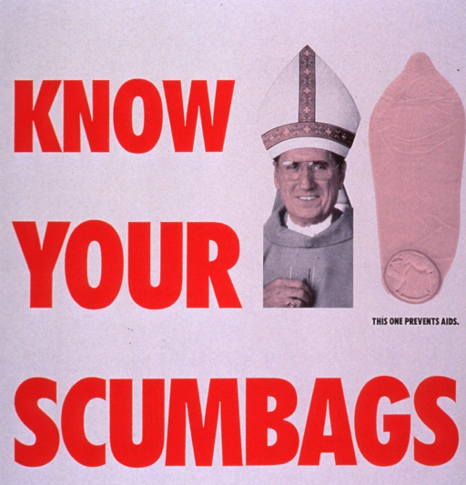 <p>The poster is white with the title in large red letters next to the photograph of Cardinal John O'Connor wearing a mitre. A condom in the shape of the mitre is positioned next to the Cardinal with the caption under it in smaller black print.</p>