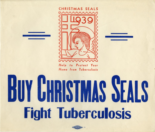 <p>Off-white poster with red and blue lettering.  Visual image at top of poster.  Image is an illustration of a Christmas seal from 1939.  Note appears as text above and below the seal.  Title below illustration.</p>