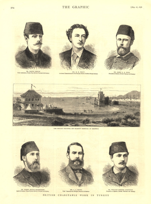 <p>Three rows of illustrations relating to the British National Aid Society:  the top and bottom rows are portraits of physicians and officials; the middle row is a panorama of the costal hospital and its surroundings.</p>