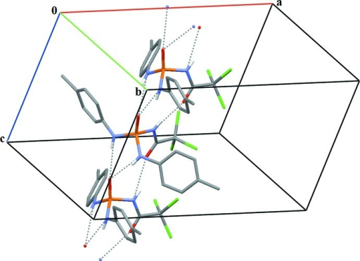 Partial packing view showing the formation of a chain through NC(O)NHP(O)—H···O(C) and (N—H)2···O(P) hydrogen bonds along the c axis. The dashed lines show the donor···acceptor distances of the hydrogen bonds.