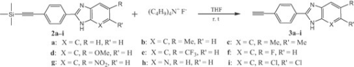 Deprotection of 2a–i to obtain the free acetylenic compounds 3a–i.