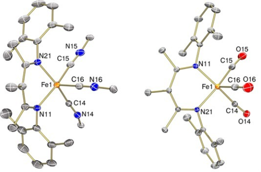 ORTEP diagrams of the X-ray crystal structures of LFe(CNXyl)3 (3, left) and LFe(CO)3 (4, right) using 50% thermal ellipsoids. The xylyl groups on the isocyanidesin 3 are omitted for clarity.