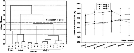 Left: tree diagram of Ward's cluster analysis. Representation of groups of subjects (groups A, B, C) with similar maximum isometric force development from pre-retest of VG—group segregation after cluster analysis. Abscissa lists the subjects; ordinate shows the 1-Pearson correlation coefficient value (r) [31]. Segregation line was set at linkage distance 0.95. Right: presentation of mean maximum isometric force development of the three groups