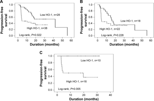 Kaplan–Meier PFS curves of CC-RCC patients with different levels of HO-1 expression.Notes: (A) All patients; (B) sorafenib group; and (C) sunitinib group.Abbreviations: PFS, progression-free survival; CC-RCC, clear cell renal cell carcinoma; HO-1, heme oxygenase-1; n, number of patients.