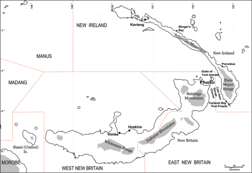 The Bismarck Archipelago, Papua New Guinea, showing all main islands (excluding the Admiralty Group), provinces (upper case), main centres and localities referred to in the text. Shading represents approximate expanse of land above 1000 m elevation.