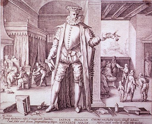 <p>Allegorical figure of the physician as a man standing among books and tools of the medical professions. Interior view: surgery patient is having bandages changed; man with broken leg is on crutches; and the third patient is sitting by the fireplace.</p>