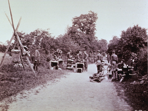 <p>General view of a battalion aid station.</p>