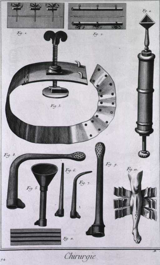 <p>In addition to a three point device used to reunite a wound there is a suture, a tourniquet, a syringe designed by Anel used as a siphon, tubes for injections, a brace for complex fractures, and a graduated compress.</p>