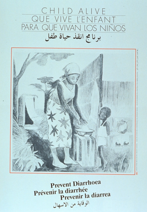 <p>White poster with black lettering.  Title at top of poster in all languages.  Visual image is an illustration of a woman in a tropical setting washing her hands as her child looks on.  There is an outhouse in the background.  Caption in all languages below illustration.</p>