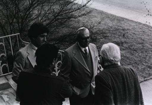<p>Researchers at Asilomar Conference, 1979.  Dr. DeWitt Stetten shown with his back to the camera.</p>
