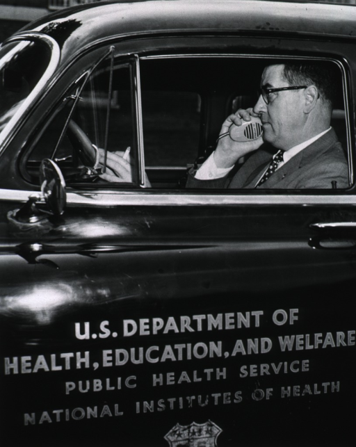 <p>Diaster Plan drill works smoothly during NIH alert.  Showing Dr. Shannon communicating over CB radio.</p>
