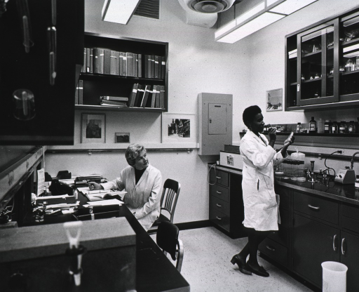 <p>Interior view: two women, one an African American, are shown at work in a typical unit of the laboratory of molecular biology.</p>