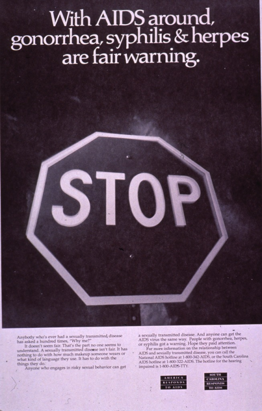 <p>Black and white poster.  Title at top of poster.  Visual image is a b&amp;w photo reproduction featuring a stop sign.  Caption below photo.  Note in lower right corner, publisher information in lower left corner.</p>