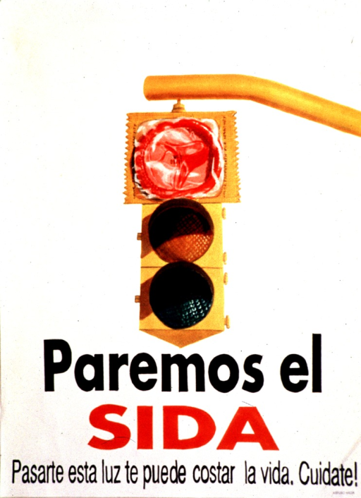 <p>English translation of the title: Let's stop AIDS : running this light can cost you your life : take care of yourself!  A yellow traffic light dominates the picture.  The red light is the largest.</p>