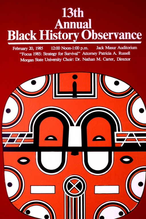 <p>The image is a rounded square in black, orange, and white, which resembles an African mask.  The speaker is Patricia A. Russell, and the Morgan State University Choir is performing.</p>